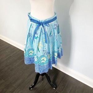 NWT Mosaic Blue and Green Pleated Skirt with Bow L